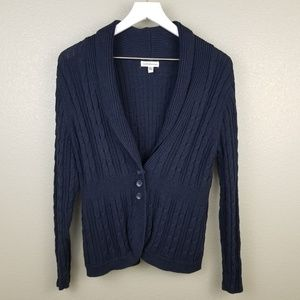 Croft & Barrow Navy Blue Cable Knit Cardigan XL